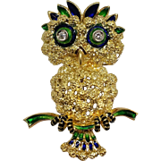 18K Gold Enameled Owl Brooch