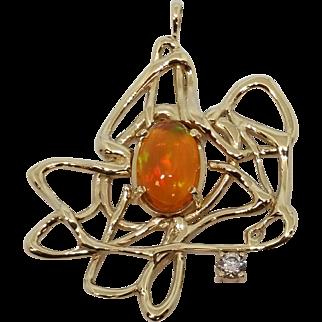 14K Yellow Gold Ethiopian Opal Free-Form Pendant