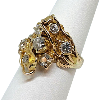 14K Yellow Gold Hand Engraved Nugget-Style Diamond Ring