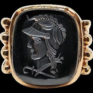 10K Gent's Hematite Intaglio Ring