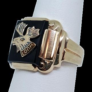 Vintage Gold Loyal Order Of Moose Onyx Ring