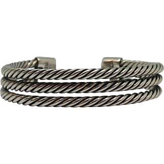 Sterling Twisted Three Strand Cuff Bracelet