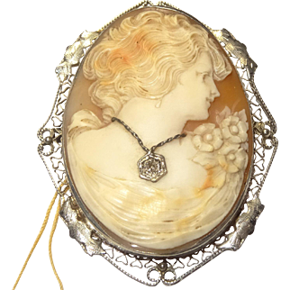Vintage 14 Karat White Gold Oval Cameo Pin Brooch Pendant 52mm x 42mm Hand Carved with Filagree Frame