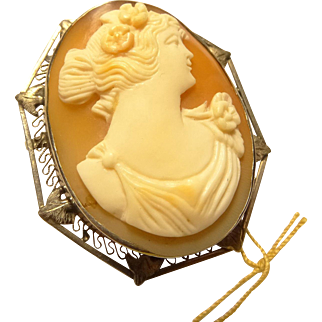 Vintage 14 Karat Gold Filagree Frame Oval Cameo Brooch Pin Pendant 37mm x 32mm Hand Carved with Filagree