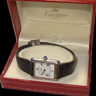 Vintage Ladies Must de CARTIER Tank Louis Argent 925 Silver Quartz Watch Roman Dial 2416