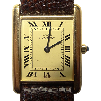 Vintage Must de CARTIER 18K Gold Vermeil Tank Watch with Creme Roman Dial