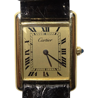 Vintage 1980s Mens CARTIER 18K Gold Vermeil Tank Watch w/ Gold Roman Dial