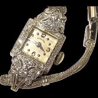 Vintage Hamilton 14 Karat Gold Diamond Cocktail Watch with 0.40 cttw Diamonds