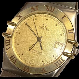 Vintage 1980s Mens Omega Constellation Chronometer Ref. 398.0876 2-Tone Quartz Date Watch