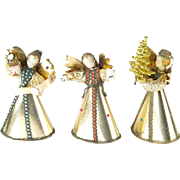 Western Germany wax angels vintage lot of 3 Christmas figures gold foil holiday