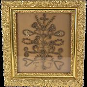 Mourning hair wreath Victorian antique shadowbox frame initials FLD 19th c