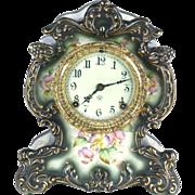 Ansonia porcelain clock antique 19th c Winooski case shelf mantel green floral