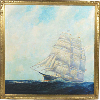 Frederick Leo Hunter NY nautical painting oil on canvas signed 1938 schooner clipper ship