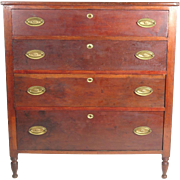 Antique chest of drawers 19th c American Sheraton  4 graduated cherry dresser