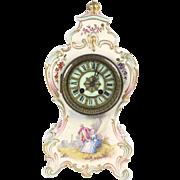 Antique porcelain clock A Stowell Boston shelf mantel French gold paint