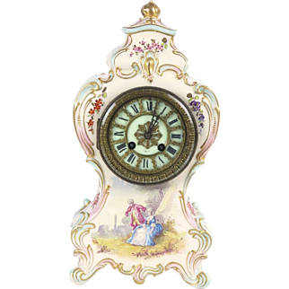 Antique porcelain clock A Stowell Boston shelf mantel French gold paint