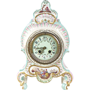 Antique porcelain clock Japy Freres French mantel shelf portrait castle c 1880s