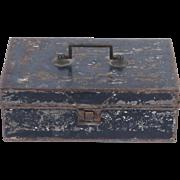 Antique spice box tin tole painted primitive black 6 tins inside metal toleware