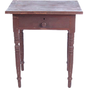 Antique side table one drawer work stand maple red stain primitive turned legs
