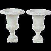 Cast iron urns garden pair vintage white cream painted metal planters pots decor