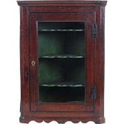 Hanging corner cupboard antique 19th c English oak glass door cabinet shelving