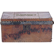 Antique trunk leather covered brass studs MMC monogram studded lock box chest