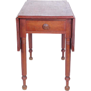19th century American primitive drop leaf table with drawer