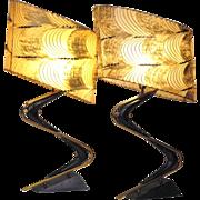 Pair mid century modern atomic era Majestic boomerang table lamps