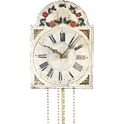 Antique wag on the wall clock with hand painted wooden dial