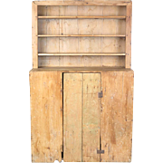 Primitive antique pine wall cupboard hutch