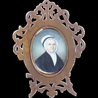 Antique portrait miniature of lady in bonnet, unsigned, 19th century