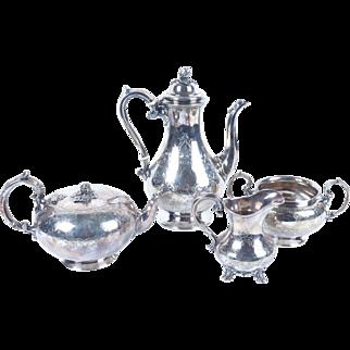 Antique Sheffield Plate tea pot set 3 pcs Roberts Cadman Co bell mark 1780-1890