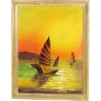 Oil on canvas seascape painting, Chinese junk boats, signed Robert Lo