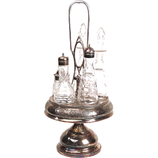 Antique Victorian silver plate cruet set by Rogers Brothers