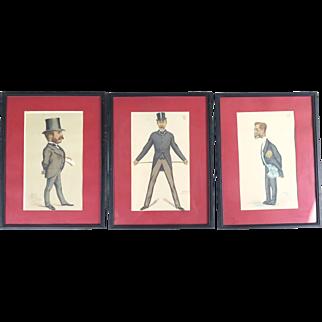 Vanity Fair prints Spy Ape Dyke Temple Cunard 1875-1881 antique 3 caricatures