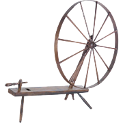 Antique walking great wheel spinning 18th c primitive country farmhouse decor