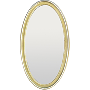"Oval wall mirror vintage gold frame beveled glass 22-1/8"" X 12-3/8"" decor"