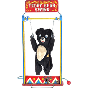 Teddy Bear Swing vintage toy tin litho Yonezawa Japan battery operated not working