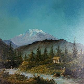 Lester Hughes Mountain Scene Oil Painting
