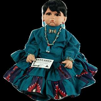 Signed Native American Indian Porcelain Doll
