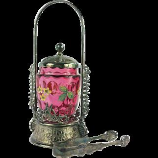 Antique Victorian Cranberry Glass Thumbprint Pickle Castor