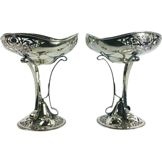 Mappin and Webb London Sheffield Pierced Silverplate Compote Pair