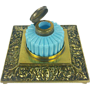 Antique French Brass Opaline Glass Inkwell