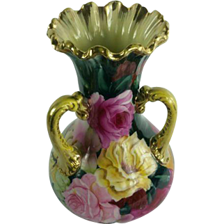 Porcelain Three Handled Vase with Roses