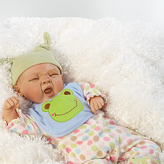 "Paradise Galleries  Lifelike Realistic Soft Vinyl 19 inch Baby Boy Doll Gift ""Sleepy Frog"" Great to Reborn"