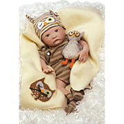 "Paradise Galleries  Lifelike Realistic Soft Vinyl 16 inch Baby Boy Doll Gift ""Hoot! Hoot!"" Great to Reborn"