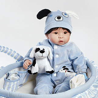"Paradise Galleries  Lifelike Realistic Soft Vinyl 18 inch Baby Boy Doll Gift ""Finn & Sparky"" Great to Reborn"