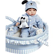 """Paradise Galleries  Lifelike Realistic Soft Vinyl 18 inch Baby Boy Doll Gift """"Finn & Sparky"""" Great to Reborn"""