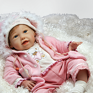 "Paradise Galleries  Lifelike Realistic Soft Vinyl 21 inch Baby Girl Doll Gift ""Cuddle Bear Bella"" Great to Reborn"