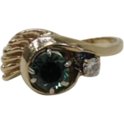 Vintage 14K Yellow Gold Columbian Emerald Ring with Diamond Accent